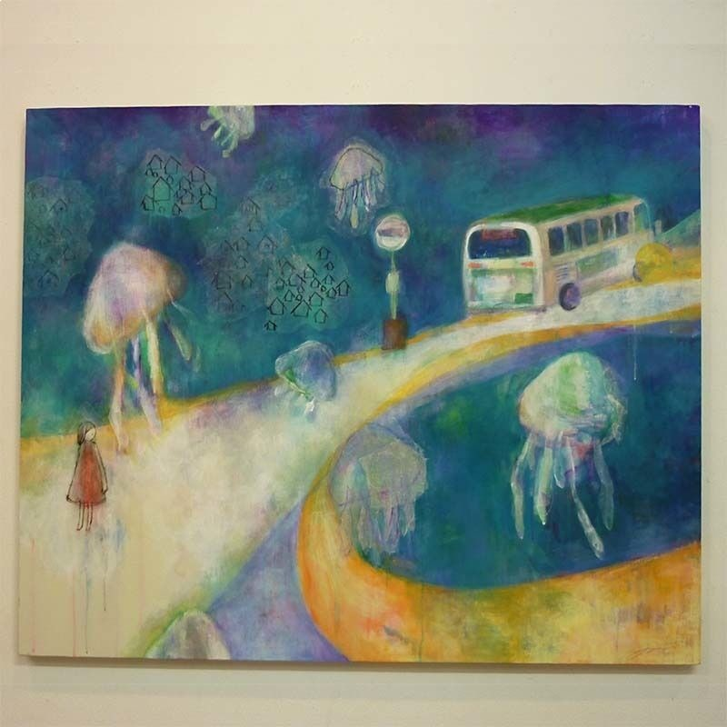 YM004海月の絵「くらげ、終バス、ばんごはん」山路絵子