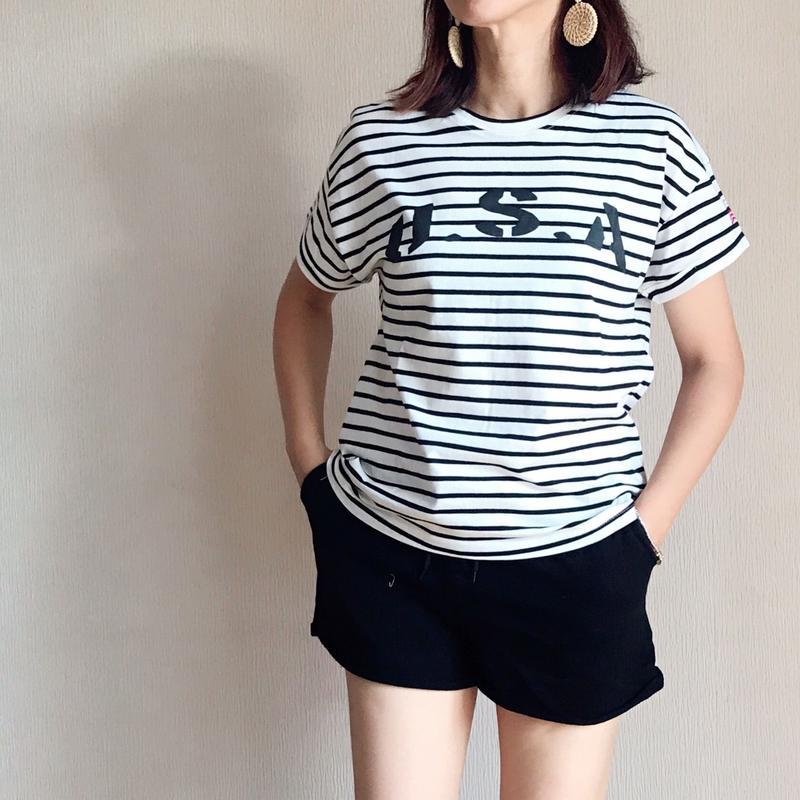 Tシャツ USA ロゴ Tシャツ ロールアップ デザイン レディース / ボーダー