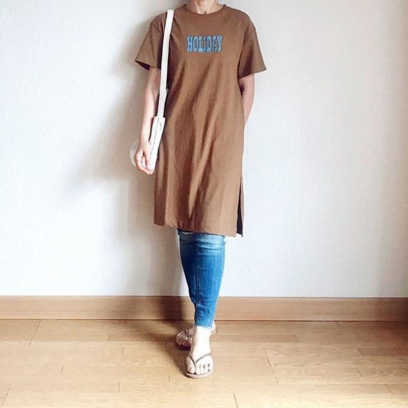 Tシャツ ワンピース  ロゴTシャツ ★HOLIDAY ★ワンピース