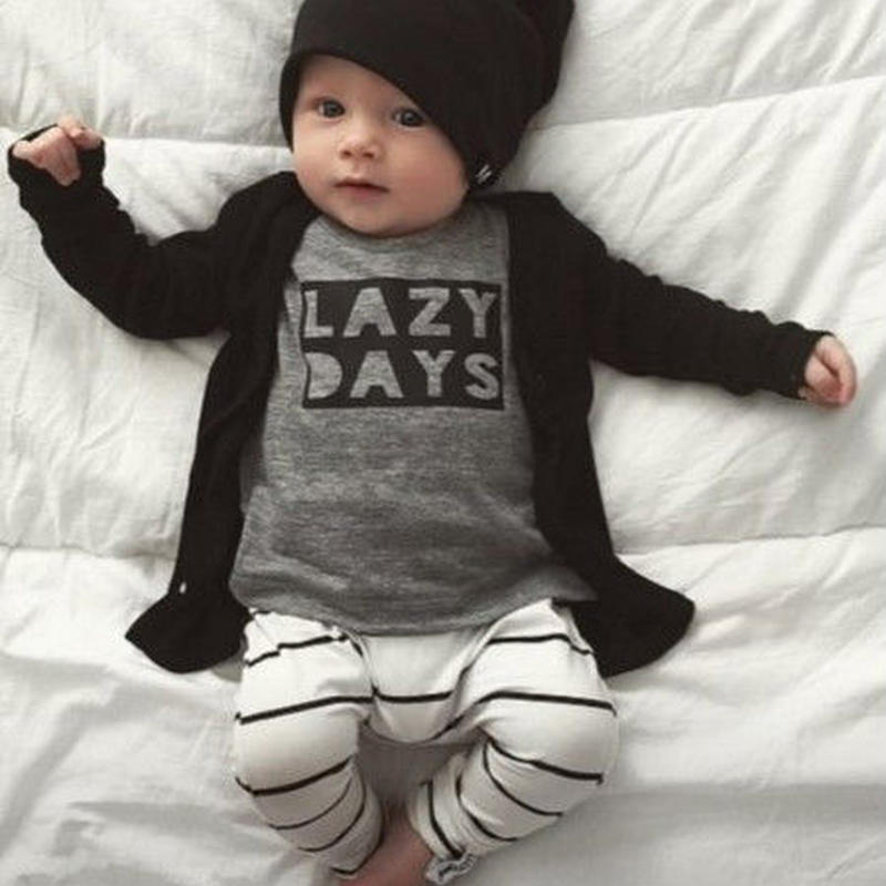 【送料無料】★baby kids 長袖 男の子 女の子LAZY DAYS上下セット★