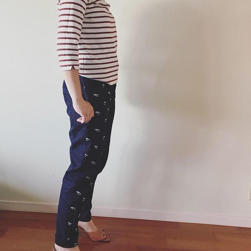 DENIM TAPERED  PANTS