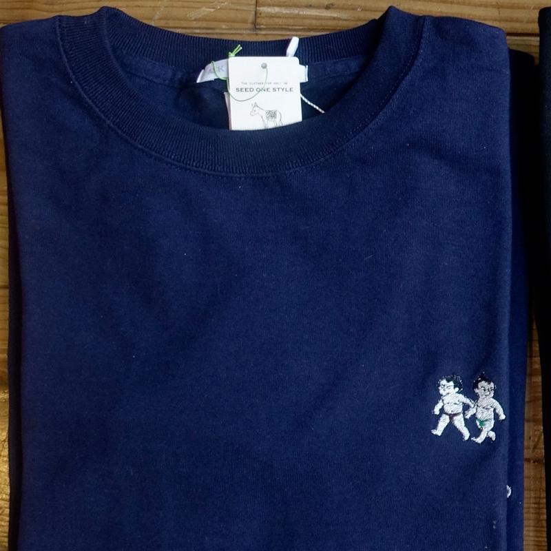 [受注製作]おすもうさん刺繍長袖Tシャツ/ネイビー