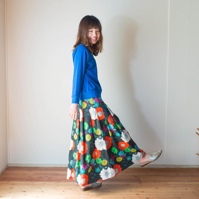 マキシ丈*Pleats Skirt プリーツスカート[FURAWA/Black]