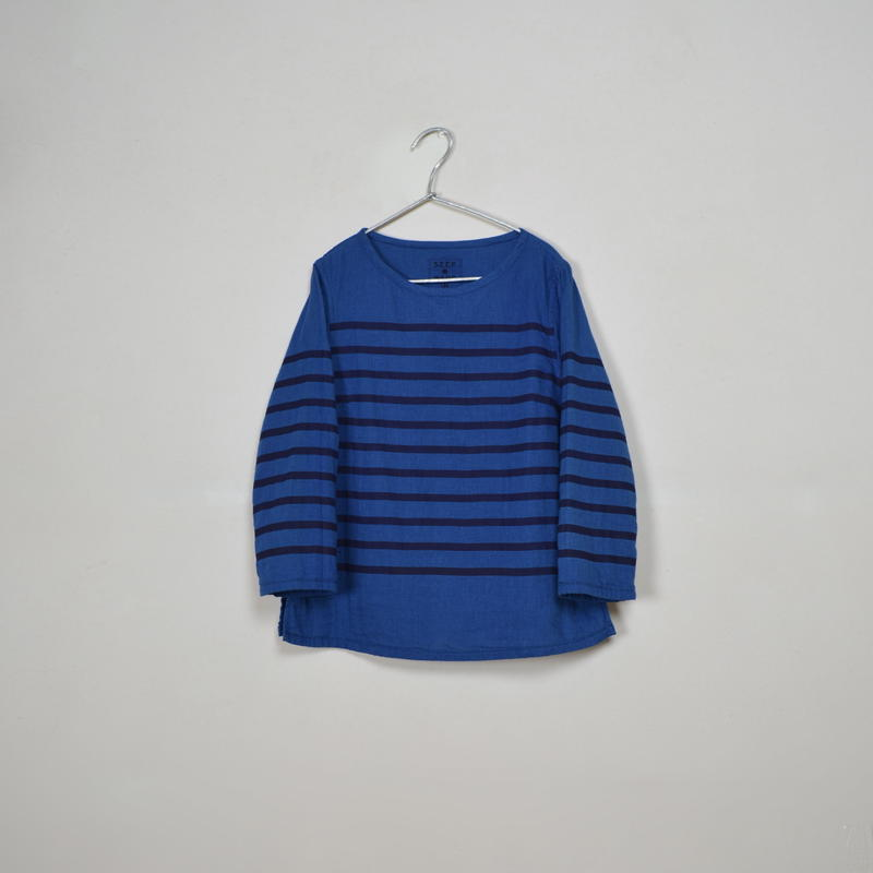 Lady's  Gauze Border  B-Neck Sht.  /  Indigo × Navy
