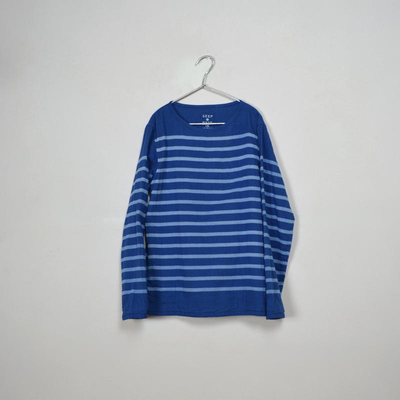 Men's  Gauze Border B-Neck Sht.  /  Indigo × Ivory