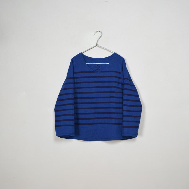 Lady's Gauze Border V-Neck Sht.  /  Indigo  ×  Navy