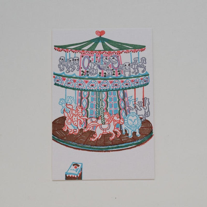 "324 Print studio ポストカード ""Traveling Paris Carousel"""