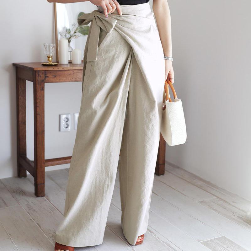 Linen wrap wide pants