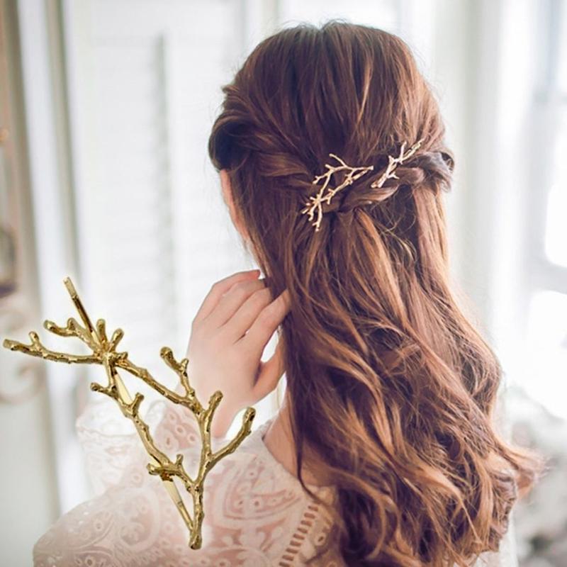 ヘアピン 枝 モチーフ 髪飾り ヘアクリップ ヘアアクセサリー 2個セット 【2カラー】 送料無料