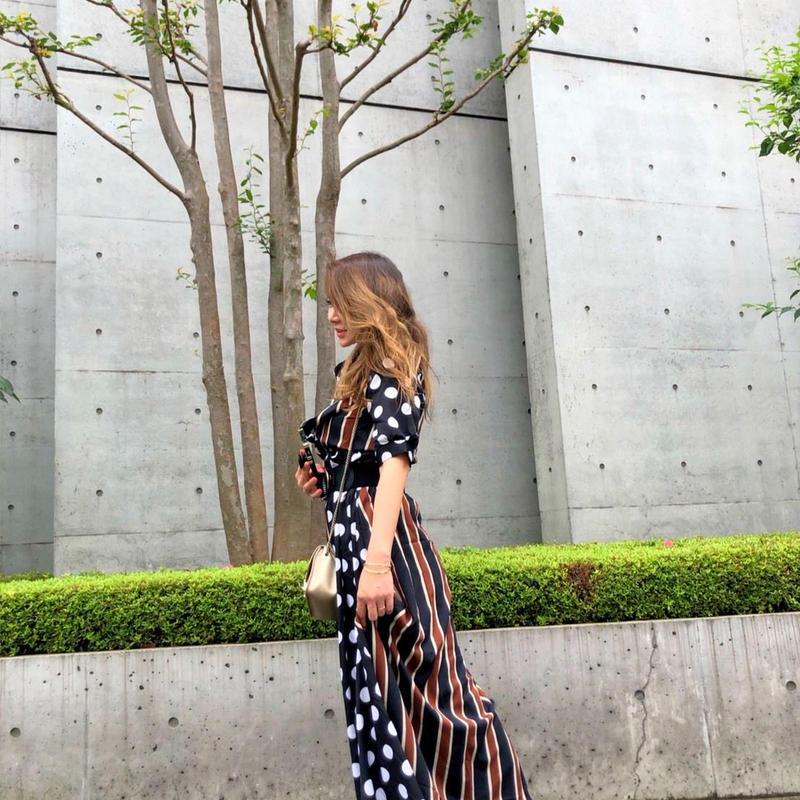 Vneck Dress Striped Dot
