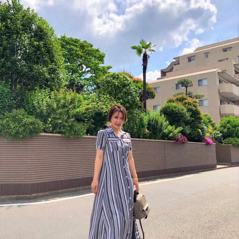 Striped Long Maxi Print Dress