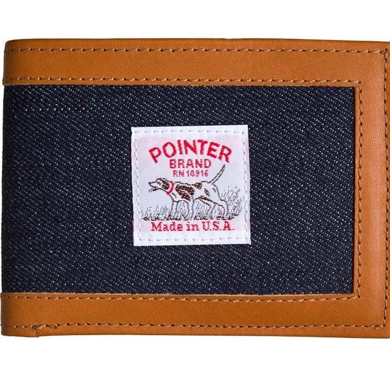 Pointer Brand Indigo Denim Wallet with Leather