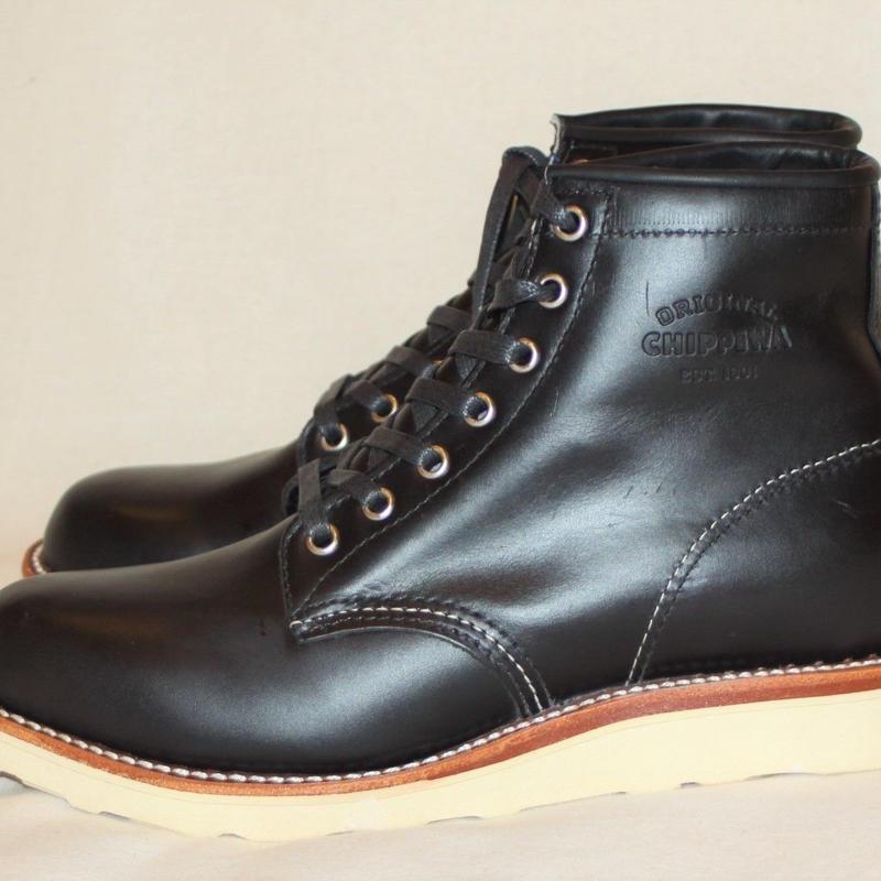 """Chippewa 6"""" Black Whirlwind General Utility Plain Toe Wedge Boots"""
