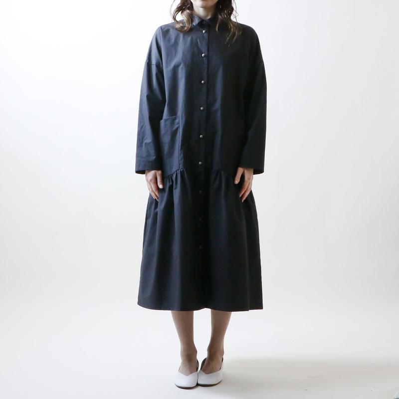 ハイカウントコットン・コート・ワンピース/ブラック
