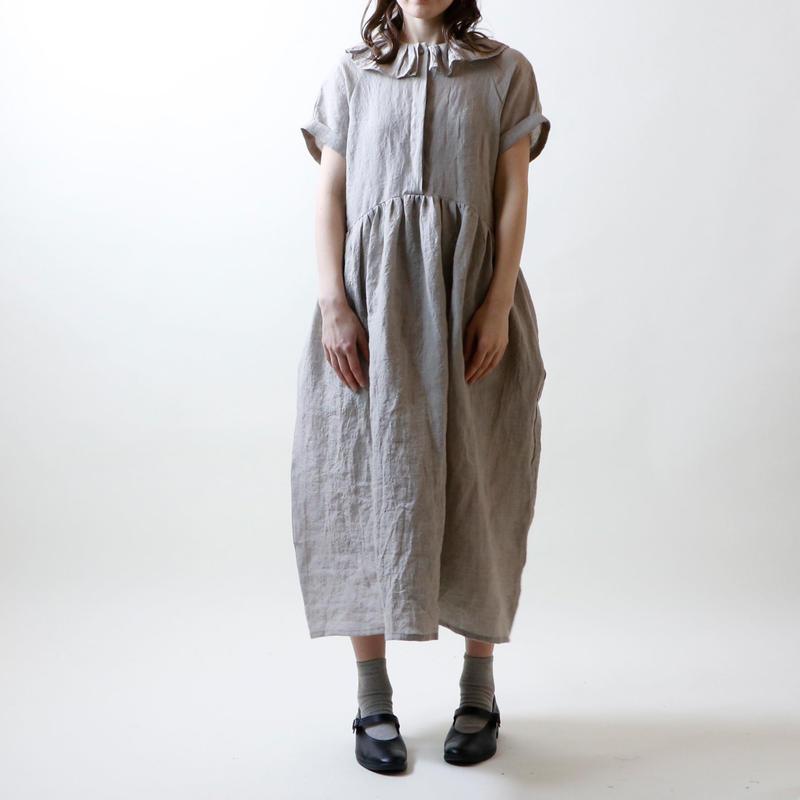シャンブレーリネン・襟フリル・ワンピース/フラックス
