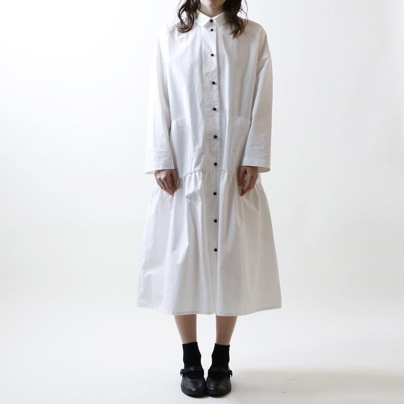 ハイカウントコットン・コート・ワンピース/ホワイト