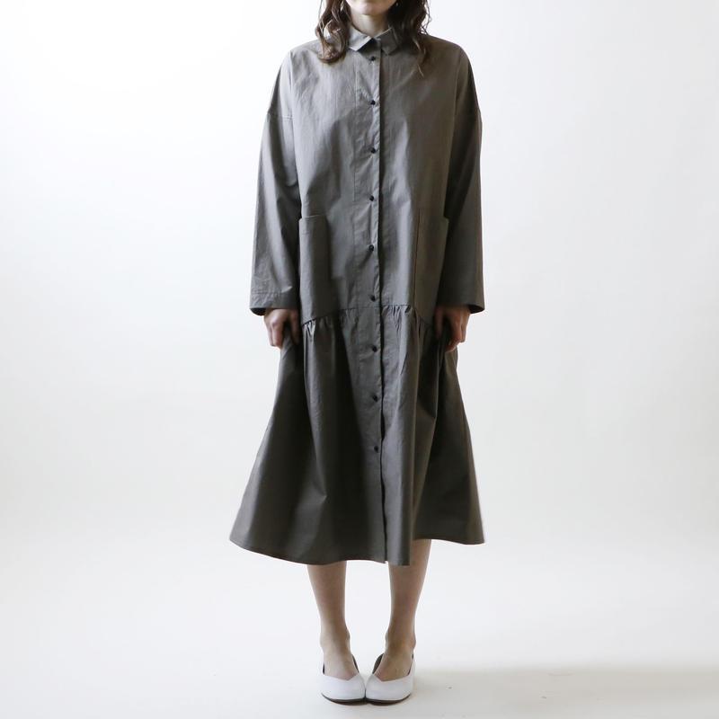 ハイカウントコットン・コート・ワンピース/グレー