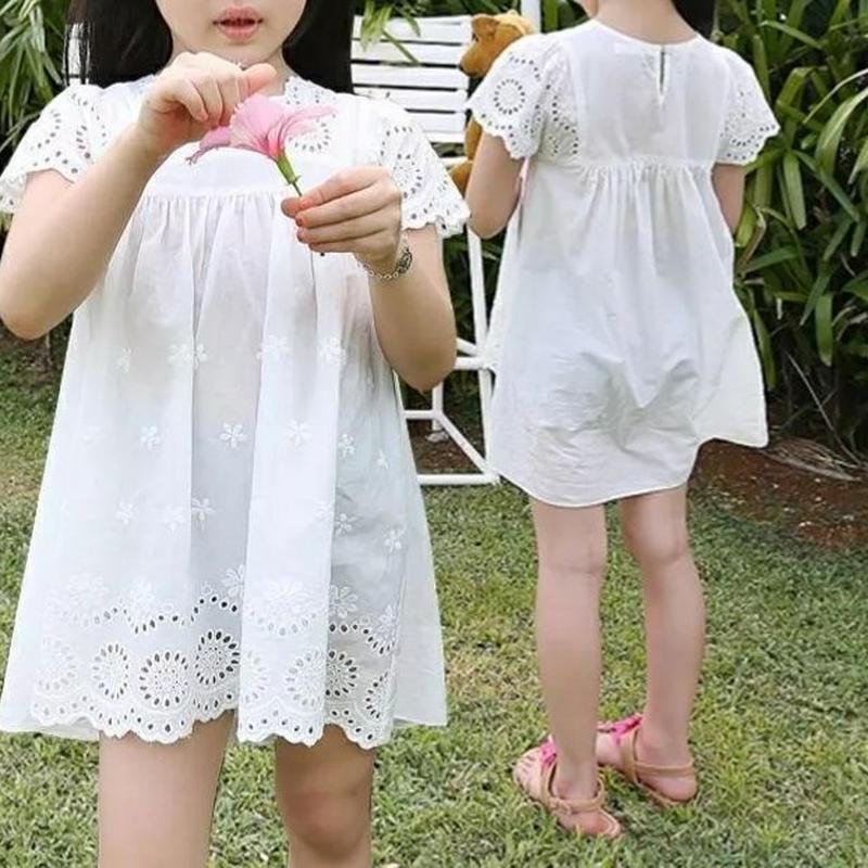 Kidsフラワー刺繍レースワンピ