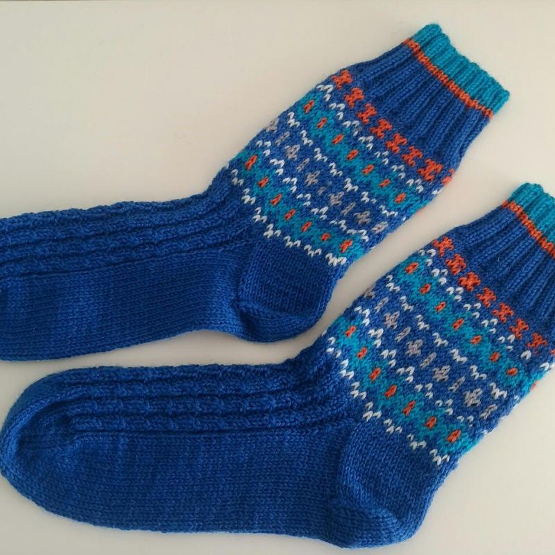 手編みの靴下(リアルトラッドC)Blue