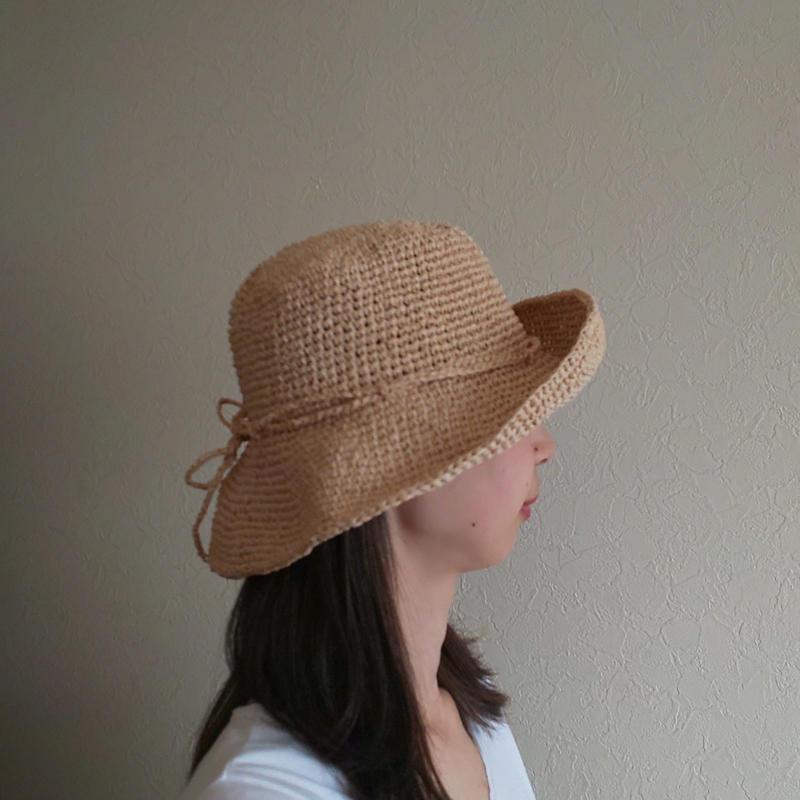 ラフィア風ニット帽(ナチュラル)