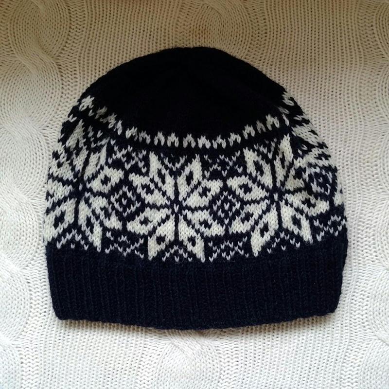 手編みのニット帽(ノルディック柄navy &wiite )