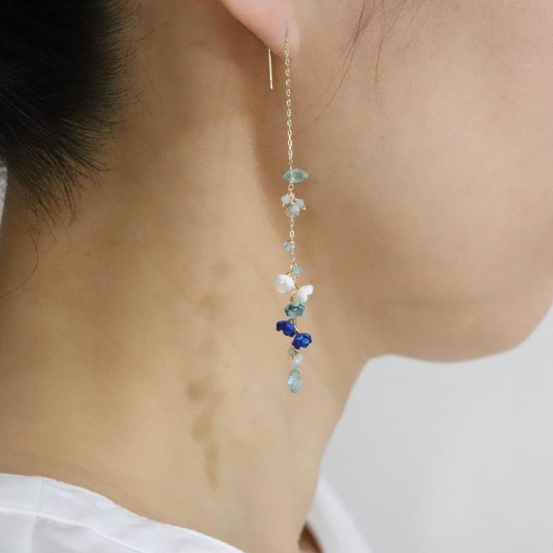 Aqua Drop Earrings/Ear clip