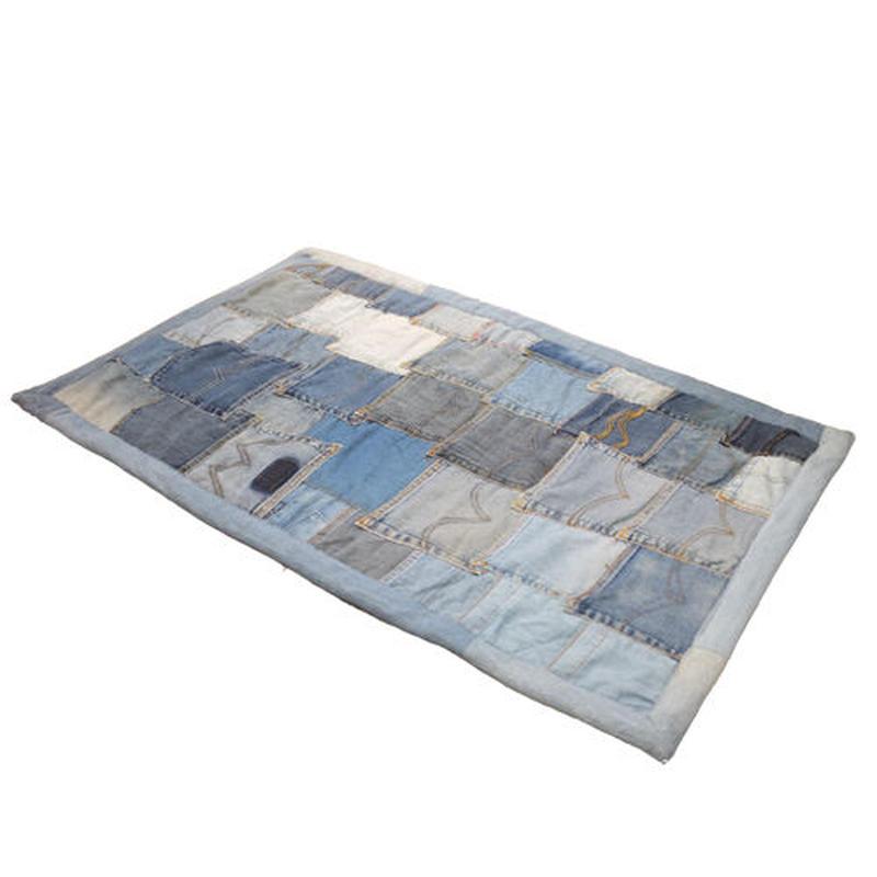 デニムパッチワークラグ(ポケット)60x90cm