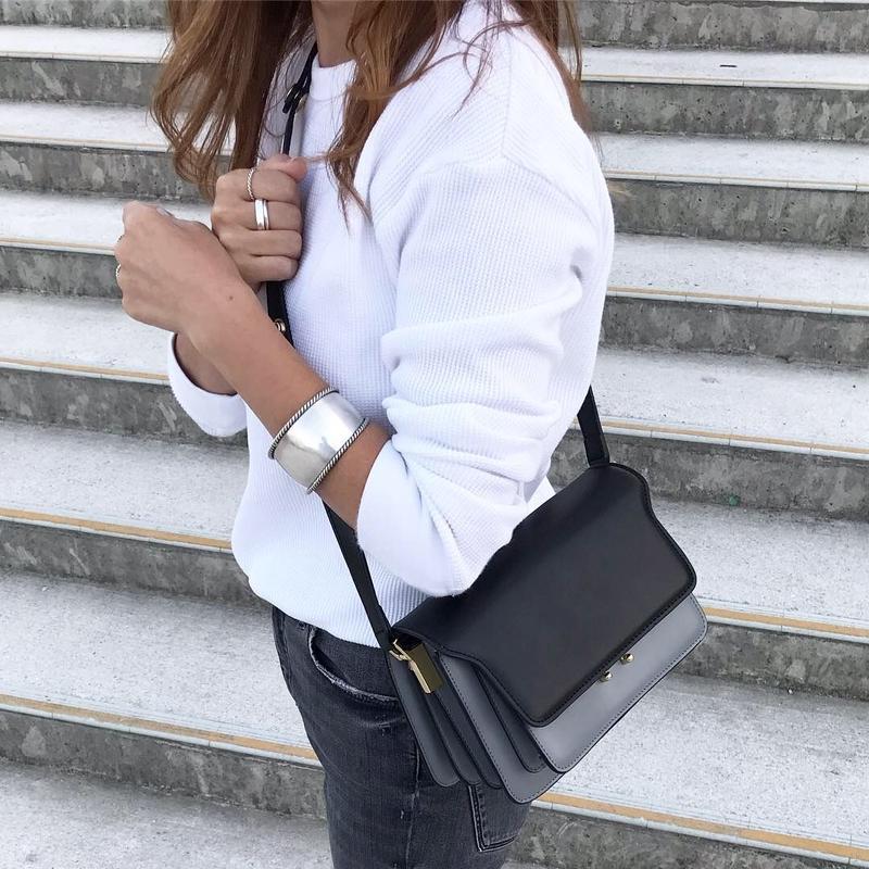 【即納】leather box bag ( black &glay )