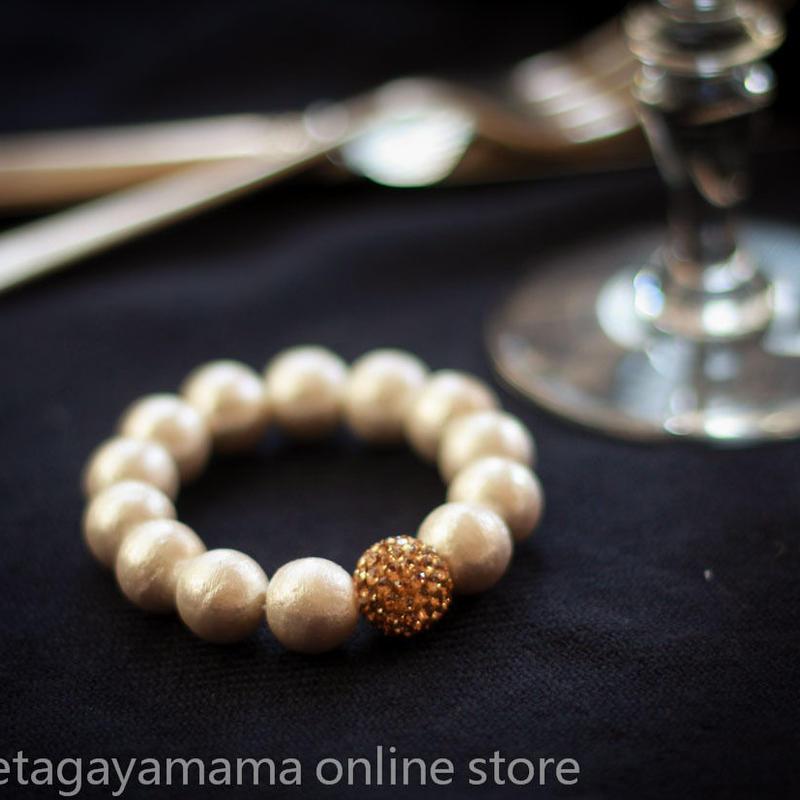 setagaya*mama オリジナル コットンパール スワロ付き Goldブレスレット スタンダードサイズ