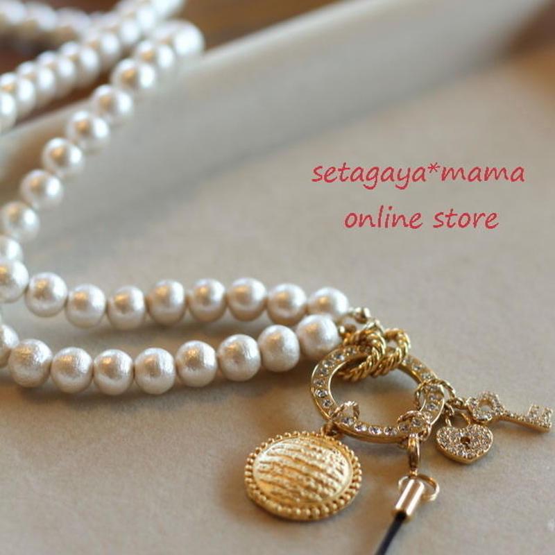 setagaya*mama オリジナル コットンパールのネームホルダー ゴールドタイプ