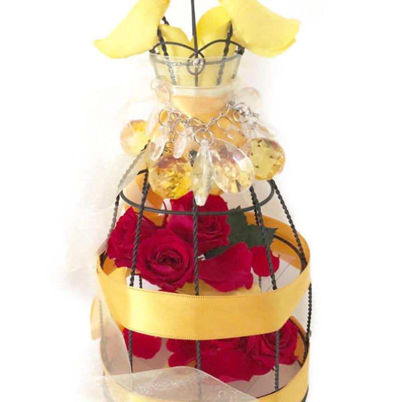 プリンセスの真実の愛と赤い薔薇/トルソーフラワードレス/プリザーブドフラワー