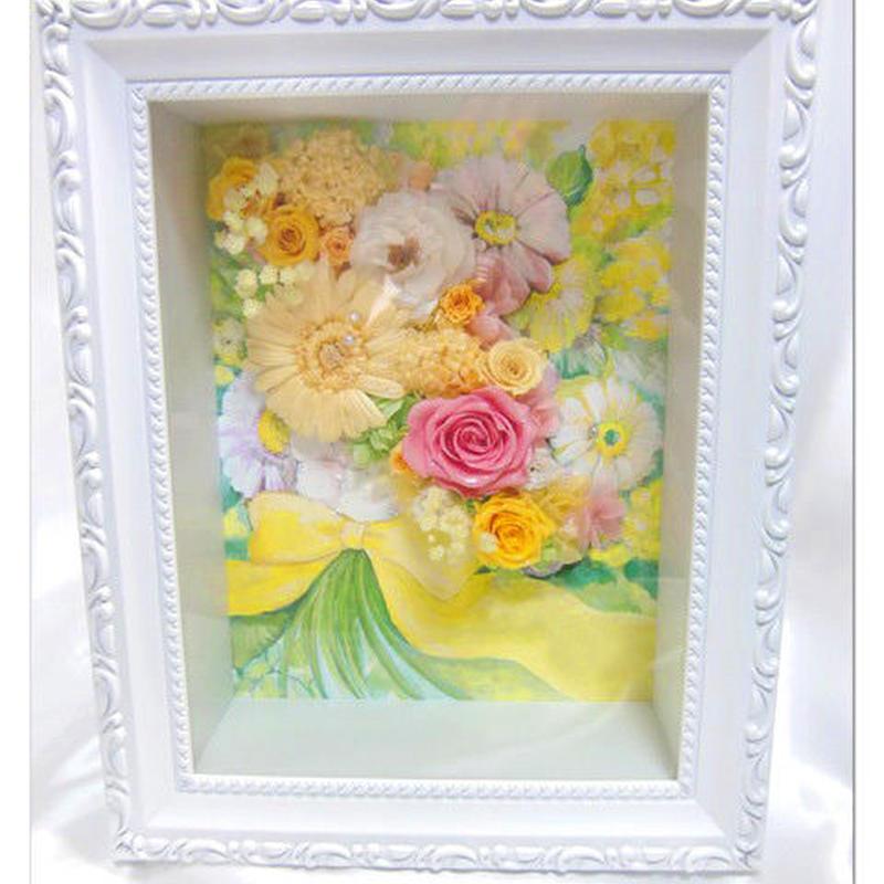 【プリザーブドフラワー フレームアレンジ/黄色の薔薇たちに込めた愛のメッセージ】