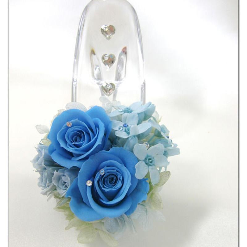【プリザーブドフラワー/ガラスの靴シリーズ】ブルーローズとブルースター。ふたつの爽やかな青が溶け合う透明で静かな時間