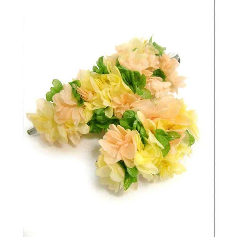 【プリザーブドフラワー/ヘアアクセサリーシリーズ2点セット/本当の紫陽花の髪飾り】フレッシュな3色の紫陽花を使用した明るくキュートな髪飾り