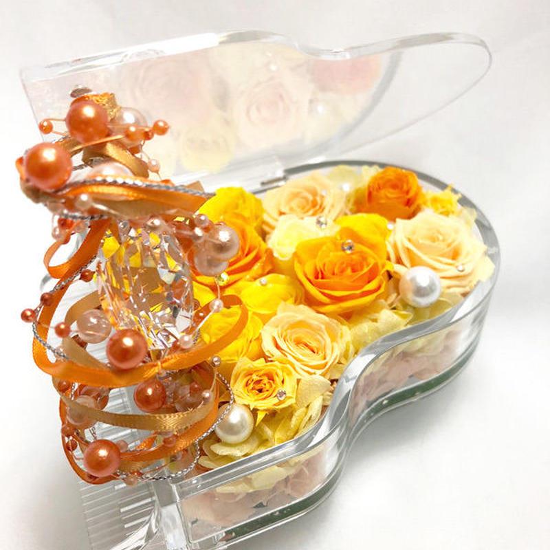 【プリザーブドフラワー/グランドピアノシリーズ】黄色とオレンジの薔薇とパールとクリスタルの輝く涙。明るい祝福に包まれたピアノ【送料無料/リボンラッピング付き】