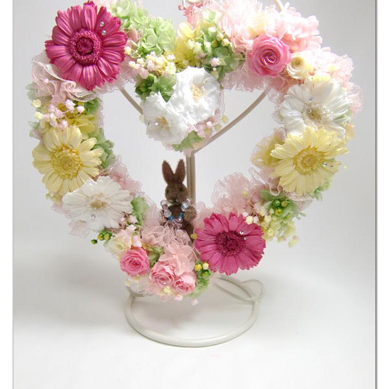 プリザーブドフラワーガーベラのうさぎさんハートリース魔法の枯れないお花