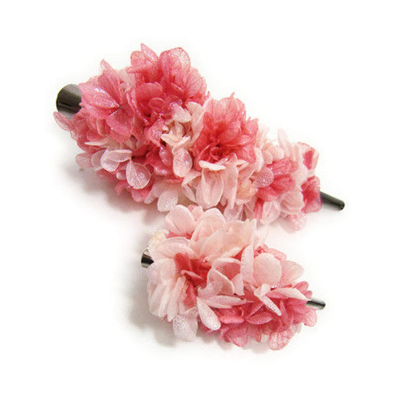 【プリザーブドフラワー/ヘアアクセサリーシリーズ2点セット/本当の紫陽花の髪飾り】甘い夢で目覚めた朝に選びたい。桜色とベリーピンクのスゥイートな髪飾り【 ラッピング付き】
