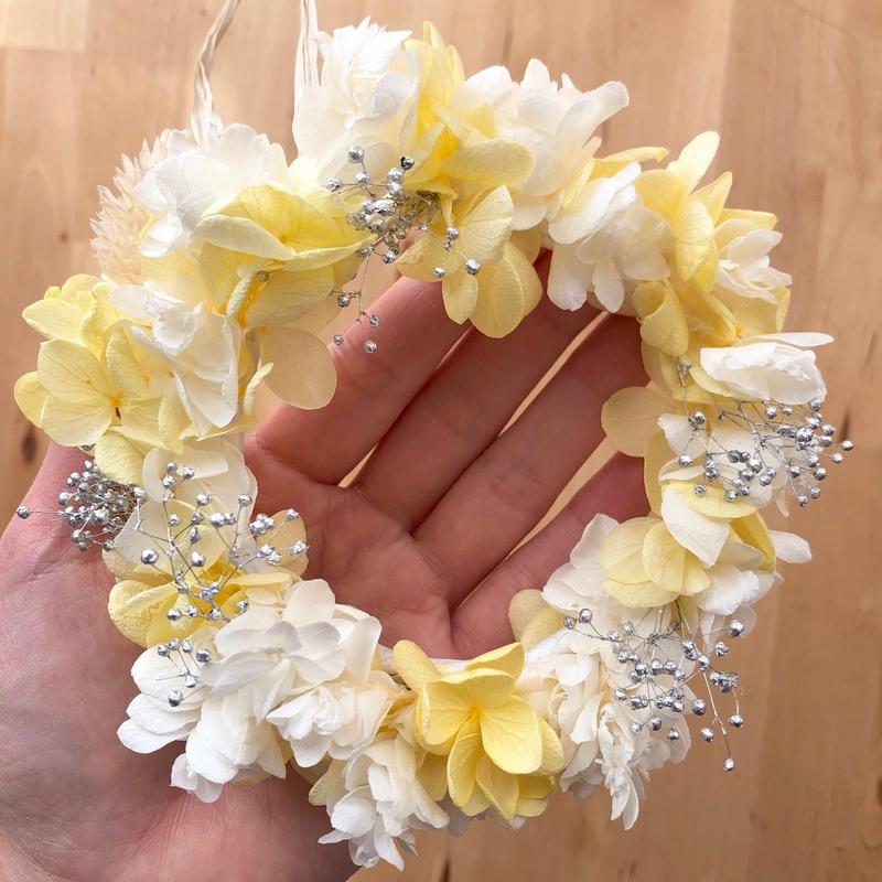 【プリザーブドフラワー/ホワイトレモン色の紫陽花ミニリース】