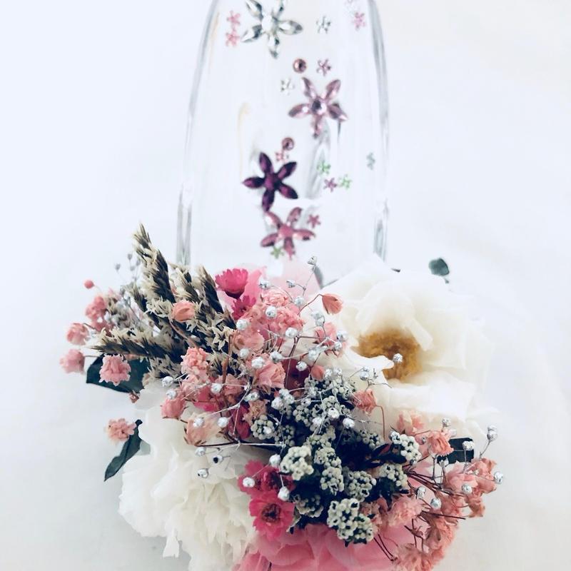 【プリザーブドフラワーガラスの靴/乙女の恋フラワービジュー/フラワーケースリボンラッピング付き】