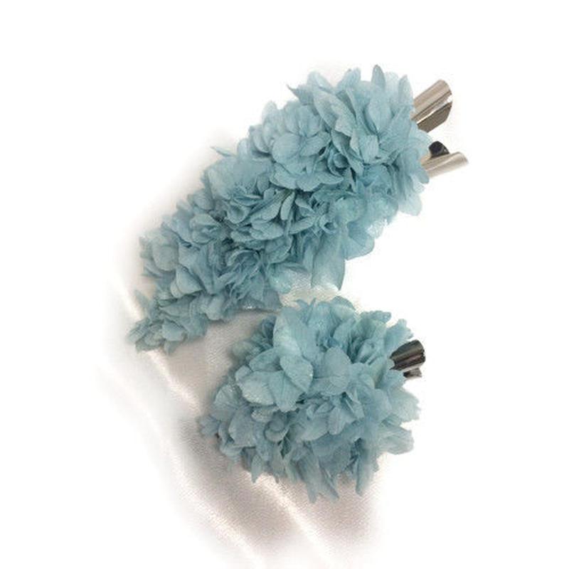 【プリザーブドフラワー/ヘアアクセサリーシリーズ2点セット/本当の紫陽花の髪飾り】静かな想いは心に秘めて。明るい空のような透明感ある髪飾り【 ラッピング付き】