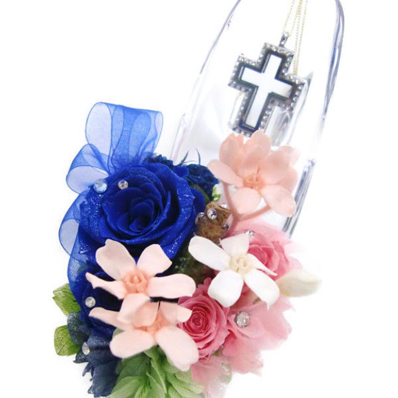 【プリザーブドフラワー/ガラスの靴シリーズ】ロミオとジュリエットの永遠の恋をピンクと青の薔薇に託して…