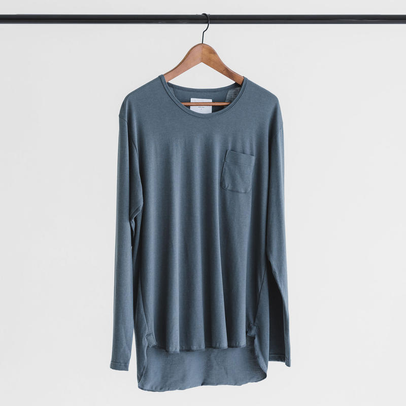 Cotton modal long sleeve pocket cut and sew (smoke gray)