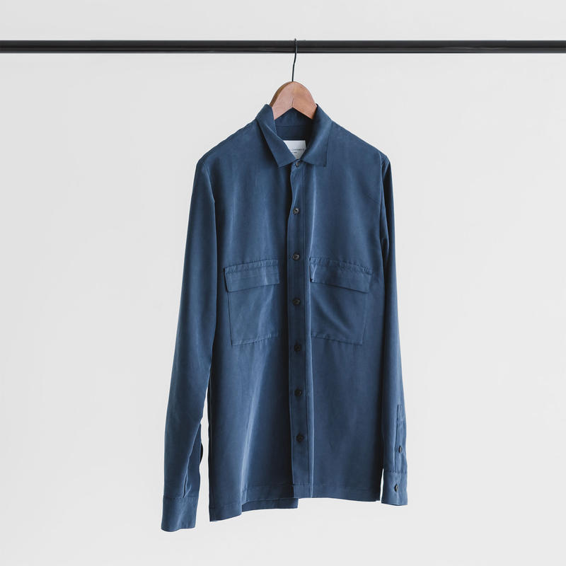 Modal & polyester dyed poplin long sleeve shirt (navy)