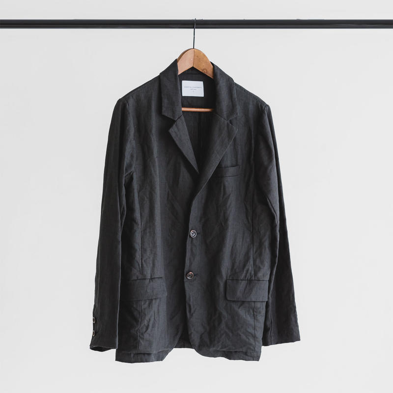 Linen weather cloth set up jacket (ink black)