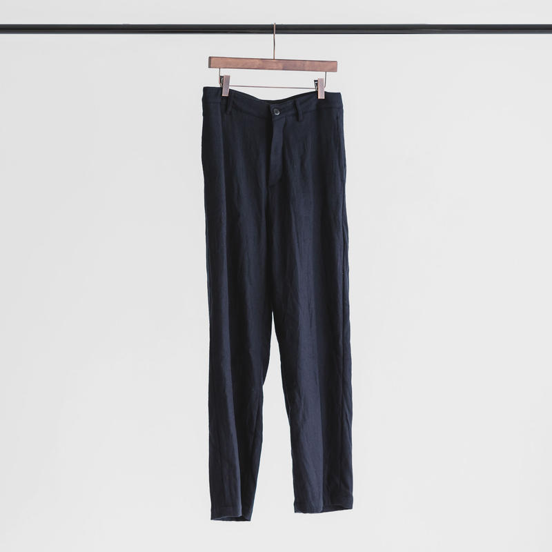 Wool botany wide pants (navy)