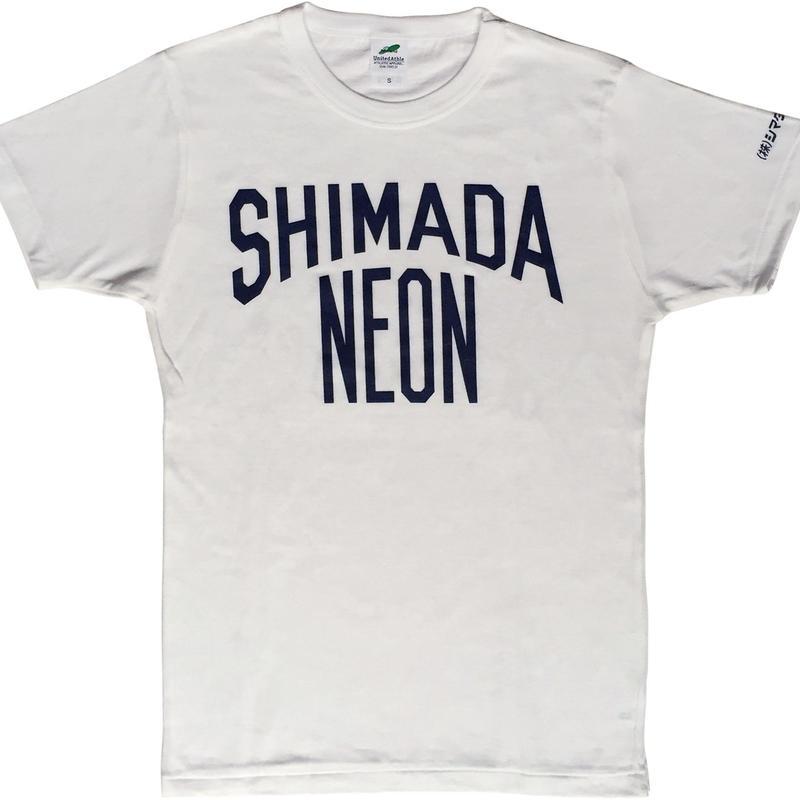 シマダネオン 作業着 Tシャツ(white x navy)