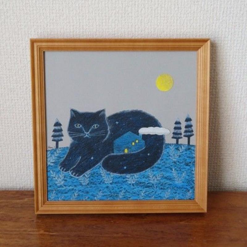 イラスト原画  タイトル「夜猫」