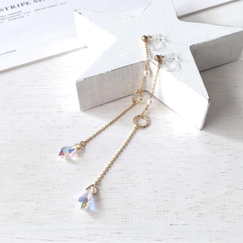 選べる金具 ★ 煌めくスワロのロングイヤリング