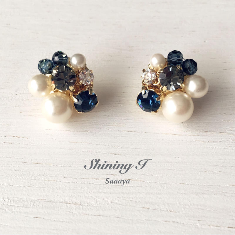 Mix stone *Navy / Earrings