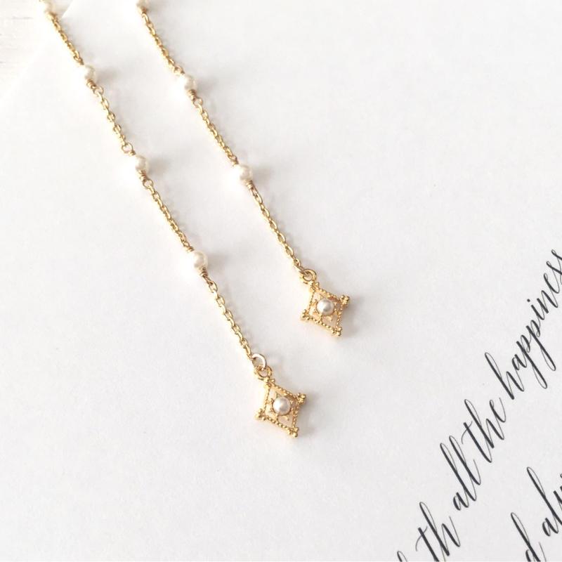 選べる金具 ★ 上品で繊細な小粒パールのロングイヤリング